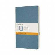 Set Of 3 Moleskine Large Ruled Cahier Journals: Brisk Blue